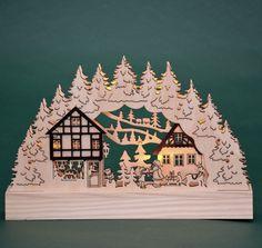 """Advent Weihnachten LED Tisch - Schwibbogen Lichterbogen """"Weihnachtshaus"""" NEU"""