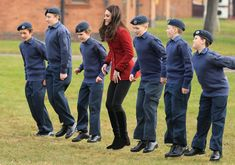 Catherine, Duchess of Cambridge plays a game with RAF Air Cadets during a visit to the RAF Air Cadets at RAF Wittering on February 14, 2017 in Stamford, England.  The Duchess of Cambridge is Royal Patron and Honorary Air Commandant of the Air Cadet Organisation. - The Duchess Of Cambridge Visits The RAF Air Cadets At RAF Wittering