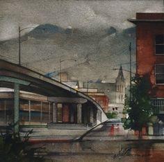 "2009, Rain on 24th Street by Joseph Alleman Watercolor ~ 8"" x 8"""