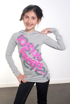 Get the attitude! Get this super cute long sleeves hoodie for girls and teens. Grey and pink, Joshua Perets