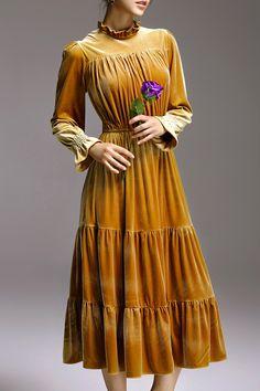 Ruffles Vintage Long Sleeve Dress
