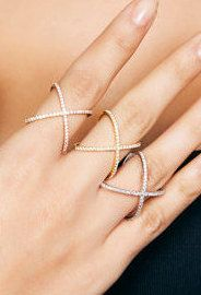 Criss Cross Ring  X Ring  925K Silver with by ChillsJewellery