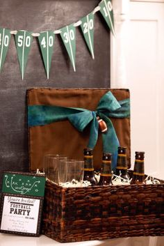Shortcut Chic: Football Party Hostess Wine Gift Basket, large