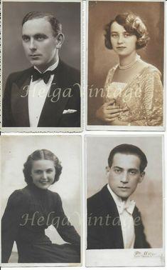 4 pcs. HUN vintage atelier photo-postcards, elegant, young ladies, men 1930s' Photo Postcards, Elegant, Lady, Young Women, 1930s, Vintage Ladies, Vintage Fashion, Movie Posters, Atelier