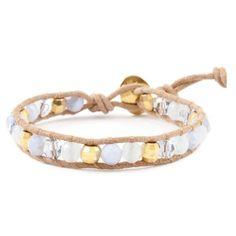 Chan Luu BLUE LACE AGATE MIX SINGLE WRAP BRACELET ON BEIGE LEATHER ($85) ❤ liked on Polyvore featuring jewelry, bracelets, adjustable bracelet, button bracelet, chan luu bracelet, lace bracelet and swarovski crystal bracelet