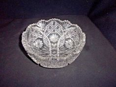 Vintage Crystal Cut Glass Fruit Compote Bowl with Flowers - Gorgeous!
