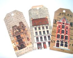 Tall Vintage Houses Gift Tags Set of 8 Shabby by SiriusFun on Etsy, $7.00