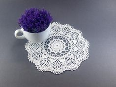 Crochet Miniature Doily Handmade Cotton by FluffyFuzzypatterns