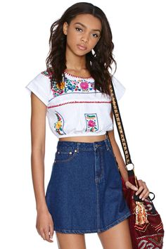 d6464fabfb Nasty gal Dressed To Frill Top in White (floral)