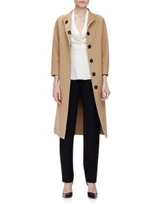 Double-Faced Belted Wrap Coat, Cowl-Neck Peplum Top & Clean-Front Pintuck Skinny Pants by Carolina Herrera at Neiman Marcus.