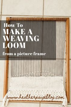 How to make a weaving loom from a picture frame - a simple DIY tutorial for aspiring weavers needing a simple lap loom to start weaving on for cheap. Step-by-step instructions and pictures. Weaving Loom Diy, Rug Loom, Weaving Art, Yarn Crafts, Sewing Crafts, Rope Crafts, Rope Rug, Weaving Projects, Art Projects