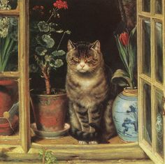 """""""Cat in a cottage window"""", By Ralph Hedley (1848 – 1913) an English realist painter, woodcarver and illustrator, best known for his paintings portraying scenes of everyday life in North  England."""