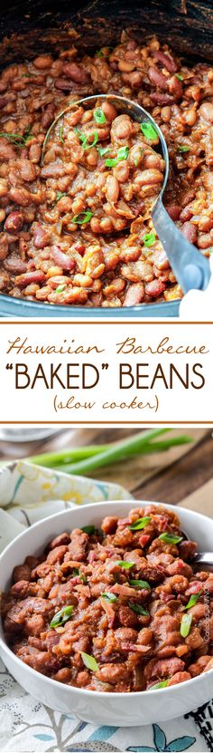 """Slow Cooker Hawaiian Barbecue """"Baked"""" Beans simmered in a pineapple infused barbecue bath enlivened with just the right kick of Cajun spices. These beans are a real crowd pleaser and couldn't be any easier! Barbecue Baked Beans Recipe, Slow Cooker Baked Beans, Homemade Baked Beans, Baked Bean Recipes, Crock Pot Slow Cooker, Crock Pot Cooking, Slow Cooker Recipes, Crockpot Recipes, Cooking Recipes"""