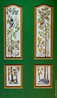 """Двери распашные """"В лесу"""" - тёмно-зелёный,дверь,двери,роспись дверей,Роспись по дереву"""