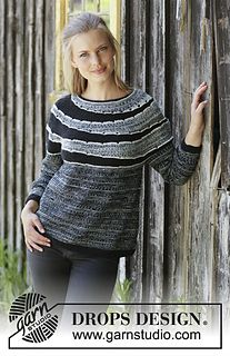 Knitted jumper with round yoke in DROPS Fabel. The piece is worked top down with garter stitch, stripes and short rows. Sizes S - XXXL.