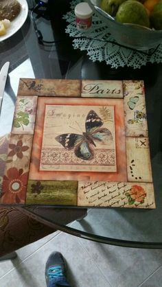 Wood Crafts, Fun Crafts, Diy And Crafts, Paper Crafts, Decoupage Vintage, Decoupage Paper, Altered Cigar Boxes, Altered Canvas, Vintage Shabby Chic