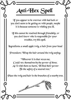 Anti-Hex Spell (Printable Spell Pages) | Witches Of The Craft®