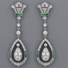 Fabulous Art Deco emerald and diamond earrings. by lbgerstel