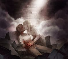 """So apparently shouting """"KISS HER"""" at the screen doesn't actually work. But drawing is magical and I can make them kiss if I want goddamnit! Attack On Titan Season, Attack On Titan Ships, Attack On Titan Fanart, Anime Girlxgirl, Sad Anime, Anime Demon, Ymir And Christa, Anime Art Girl, Aesthetic Anime"""