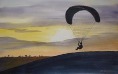 Paragliding over Dunstable Downs by Peter Roake by Peter Roake, Peter Roake, Gadebridge Watercolours, SAA Professional Members' Galleries