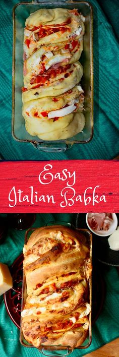 This easy savory Italian babka recipe has flavorful prosciutto, soft mozzarella and parmesan cheeses, and tangy bruschetta topping! Yummy Appetizers, Appetizer Recipes, Dessert Recipes, Dinner Recipes, Bread Recipes, Baking Recipes, Popular Recipes, Popular Food, Babka Recipe