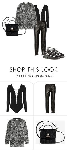 """""""#177"""" by s-b-r-n-a ❤ liked on Polyvore featuring Alexander Wang, J Brand, Yves Saint Laurent, MM6 Maison Margiela, monochrome, sandals, cardigan and leatherpants"""