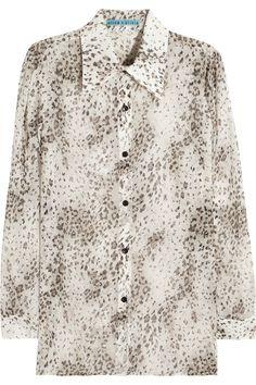 Alice + Olivia Brazil animal-print silk-chiffon blouse