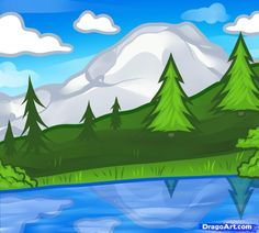New Landscape Drawing Easy For Kids 46 Ideas Landscape Drawing For Kids, Landscape Drawings, Cool Landscapes, Landscape Art, Landscape Paintings, Landscape Design, Water Drawing, Painting & Drawing, Painting For Kids