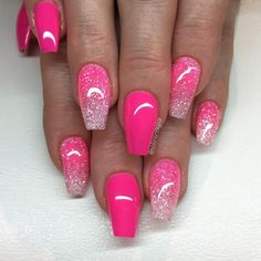 """25 + ›"""" Neon Pink """"with glitter tip in Neon Pink and Diamond - Nails - . - 25 + ›"""" Neon Pink """"with glitter tip in Neon Pink and Diamond – nails – - Summer Acrylic Nails, Best Acrylic Nails, Summer Nails, Pink Summer, Summer Time, Stylish Nails, Trendy Nails, Cute Nails, Classy Nails"""