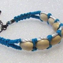 """Hemp Beaded Cuff Wrap Bracelet, Bohemian Jewelry, Tribal, Ethnic Bracelet Wood Beads Soft and comfortable nylon base cords Fits 7"""" wrist with extending chain for your custom fit. Lobster Claw Clasp"""