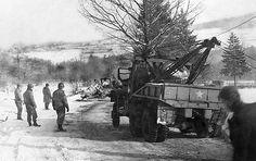 Road repair work by 300th Combat Engineers