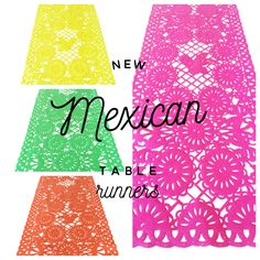 Mexican fabric Table Runner Papel Picado design Pink - MesaChic - 1