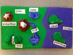 Students create landforms maps using homemade clay: Mix together one 5-pound bag of flour with 5 canisters of salt, then add water until your dough reaches the desired consistency. Students can paint and label the landform maps when they are dry! (detailed step-by-step directions & pictures included in the blog post)