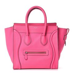Designer Clothes, Shoes & Bags for Women Celine Mini Luggage, Celine Bag, Luxury Bags, Luxury Handbags, Pink Leather, Leather Bags, Real Leather, Buy Bags, Large Bags