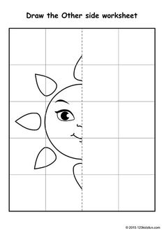 FREE Worksheets and Printables for Kids. Symmetry Drawing Activity for Preschool and Kindergarten. Develop Math and Geometric skills. various drawing Symmetry Drawing Symmetry Worksheets, Art Worksheets, 1st Grade Worksheets, Kindergarten Math Worksheets, Homeschool Kindergarten, Worksheets For Kids, Preschool Activities, Maths, Drawing Lessons For Kids