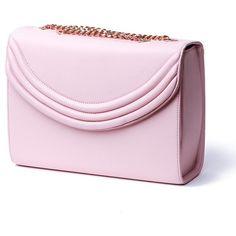Lauren Cecchi Mezzo Blush Medium Cross Body Bag ($690) ❤ liked on Polyvore featuring bags, handbags, shoulder bags, silver, chain shoulder bag, leather handbags, crossbody handbags, pink crossbody and leather cross body purse