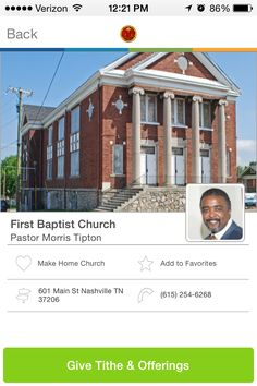 First Baptist Church in Nashville, Tennessee #GivelifyChurches