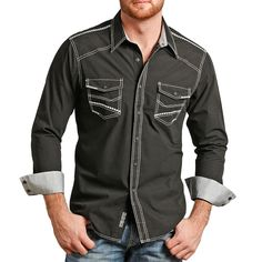 Rock & Roll Cowboy Men's Whipstitch Long Sleeve Shirt