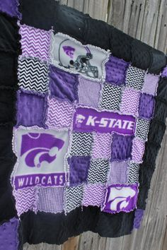 KSTATE purple black & gray Rag Quilt/Blanket! How FABULOUS! She can do ANY COLLEGE OR PRO team! Would be adorable nursery crib bedding (KSTATE blanket, KSTATE WILDCATS, KSTATE quilt, KSTATE nursery) by BabyBazerk, $85.00