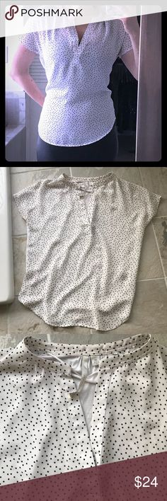 XS Lauren Conrad v neck white blouse black dots Perfect condition short sleeve t shirt. Worn once. Front panel is silky white v neck with small black dots and back panel is soft cotton material in solid white. Perfect casual top of appropriate to wear to work meetings etc. looks great tucked in with jeans/slacks or with a skirt. Size extra small but fits like a small. LC Lauren Conrad Tops Blouses