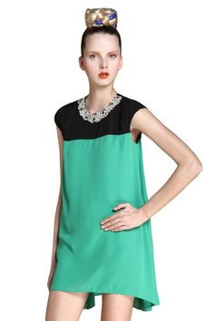 Black and Green Beading Neckline Dipped Hem Mini Dress pictures