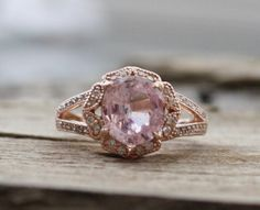 2.32 Ct. Cushion Faint Pink Sapphire Diamond Halo Engagement Ring in 14K Rose Gold by Studio1040 on Etsy