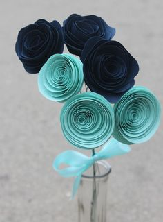 12 Elegant Teal and Navy Blue Paper Flower Bouquet by Scrappuchino, $10.50