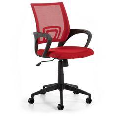 Silla de oficina Ebor en color rojo, moderna y juvenil. Tejido de malla transpirable y estructura de polipropileno