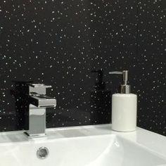 White Penny Tile   Black Sparkle 1 Metre x 2, Pvc Shower Panels