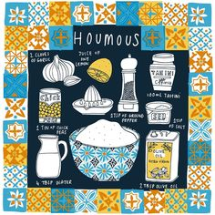 Just ordered some prints of this recipe.. will be available in my shop in the next week, along with loads of other new bits #illustratedrecipe #houmous #hummus #humous #vegan #plantbased #ilovechickpeas #illustration