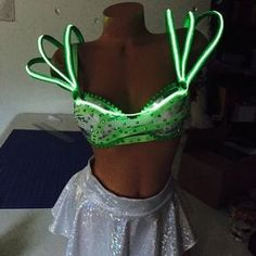 Another El Wire alien costume going to EDC. Another El Wire alien costume going to EDC. Alien Cosplay, Cosplay Diy, Halloween Cosplay, Diy Alien Costume, El Wire Costume, Festival Wear, Festival Outfits, Festival Fashion, Edc