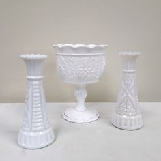 Mixed collection of vintage milk glass vases 49 available for rent, $5 each.
