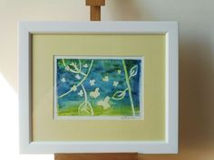 THE FLY - BUTTERFLIES IN BLUE LIGHT, 30/25 cm, framed painting