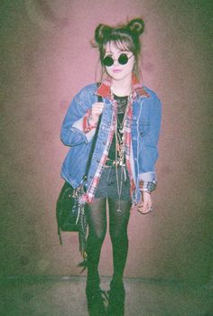 Grunge. 90s. Jean Jacket. Tights. Plaid. Shorts. Hot. Cute. Hair Style. Black Purse. Jewelery. Platform Heels.